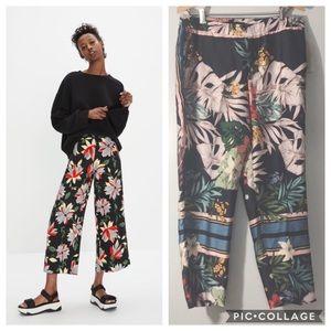 NWT Zara Navy Floral Wide-leg Crop Pants